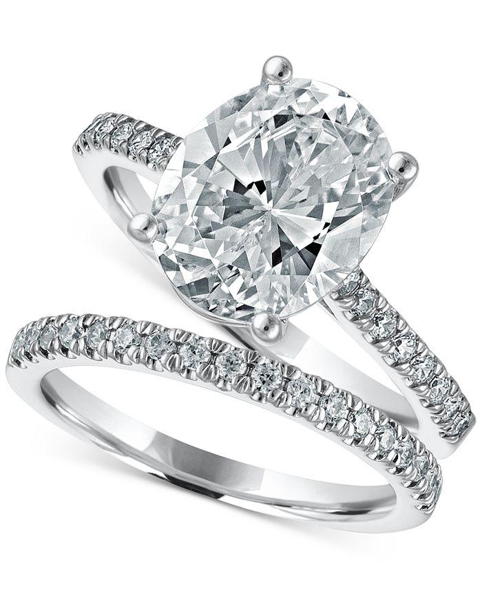 Macy's Star Signature Diamond - Certified Diamond Oval Bridal Set (3-1/2 ct. t.w.) in 14k White Gold