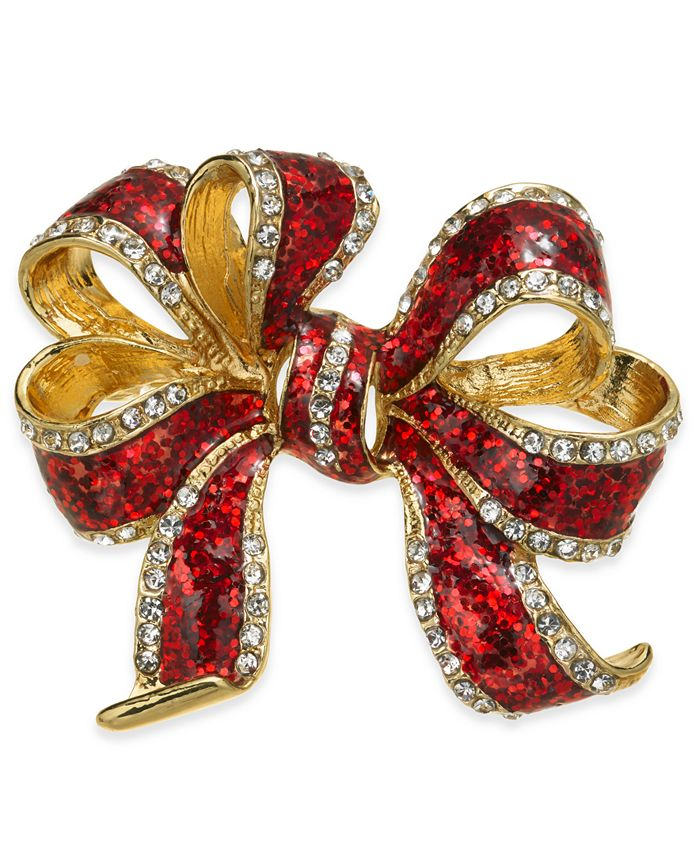 Charter Club - Gold-Tone Crystal & Epoxy Gift Bow Pin