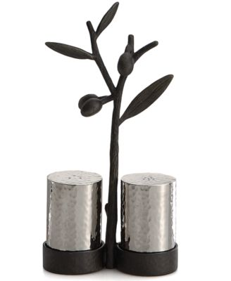 Michael Aram Olive Branch Salt and Pepper Shakers with Caddy