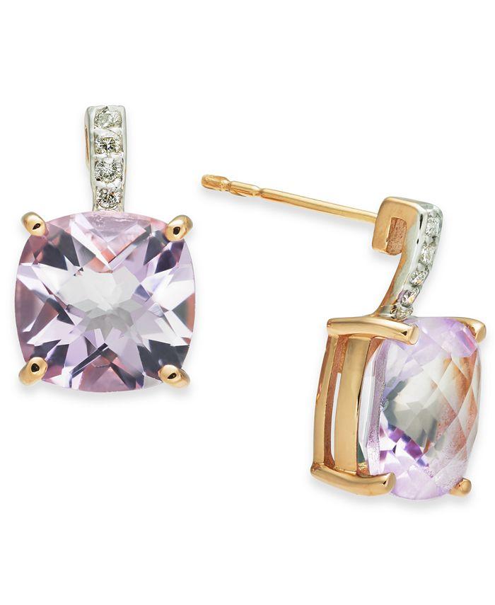 Macy's - Pink Amethyst (5-5/8 ct. t.w.) & Diamond (1/20 ct. t.w.) Stud Earrings in 14k Rose Gold