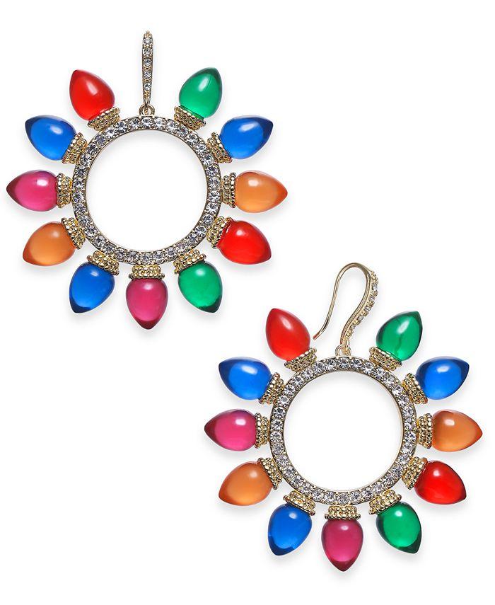 INC International Concepts - Gold-Tone Pavé & Multicolor Lightbulb Wreath Drop Earrings