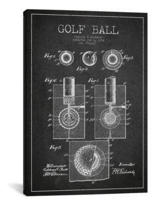 Golf Ball Charcoal Patent Blueprint by Aged Pixel Wrapped Canvas Print - 26