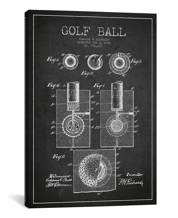 "iCanvas Golf Ball Charcoal Patent Blueprint by Aged Pixel Wrapped Canvas Print - 26"" x 18"""