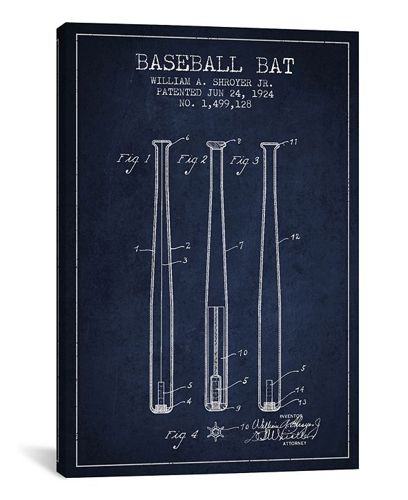 iCanvas  Baseball Bat Navy Blue Patent Blueprint by Aged Pixel Wrapped Canvas Print Collection