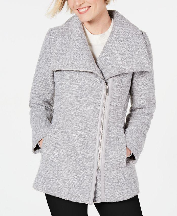 INC International Concepts - Asymmetrical Faux-Leather-Trim Coat