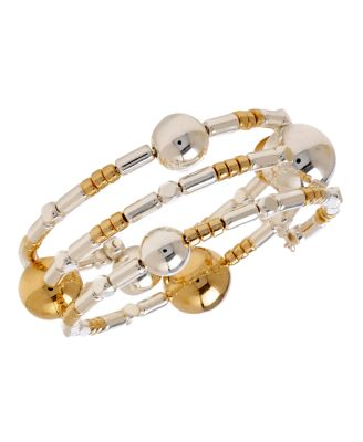 Robert Lee Morris Bracelet; Two-Tone Beaded Coil Bracelet