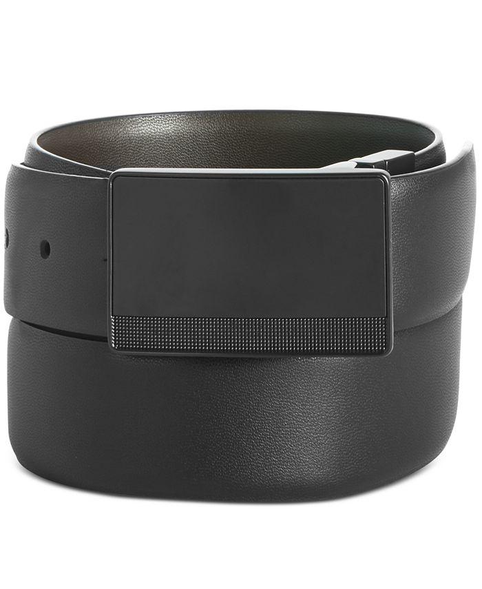 Perry Ellis Portfolio - Men's Plaque-Buckle Leather Belt