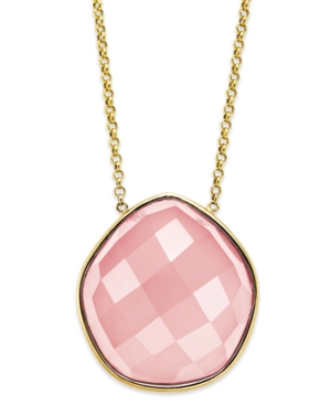 14k Gold Necklace, Faceted Pink Agate Pentagon Necklace (28 ct. t.w.)