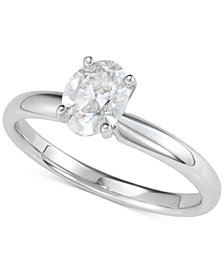Diamond Oval Solitaire Engagement Ring (1 ct. t.w.) in 14k White or Yellow Gold