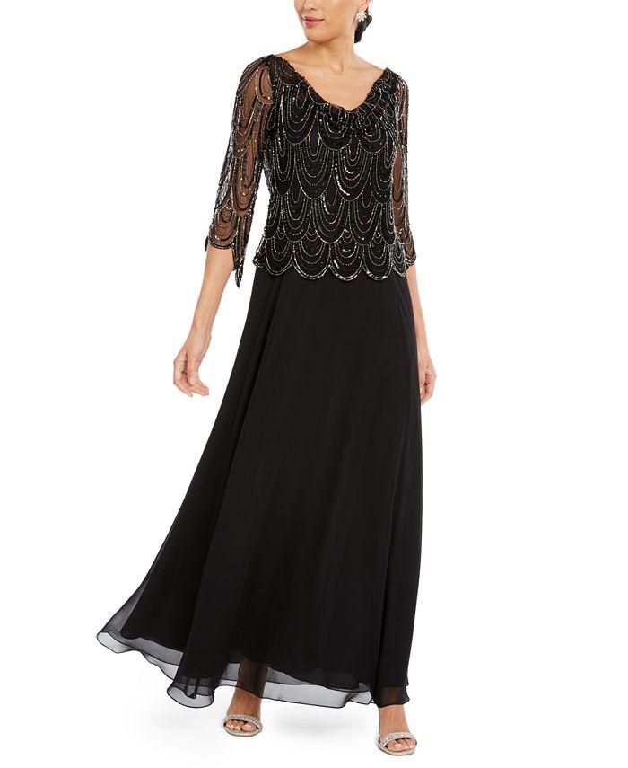 J Kara - Cowlneck Beaded Gown