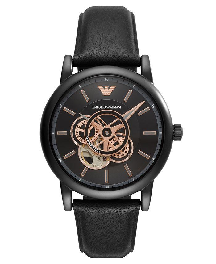 Emporio Armani - Men's Automatic Black Leather Strap Watch 43mm