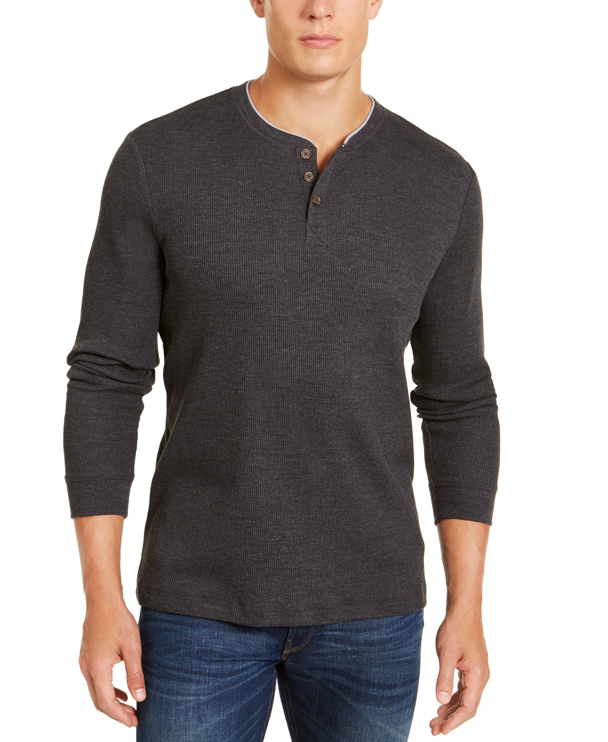 Club Room Mens Thermal Henley Shirt