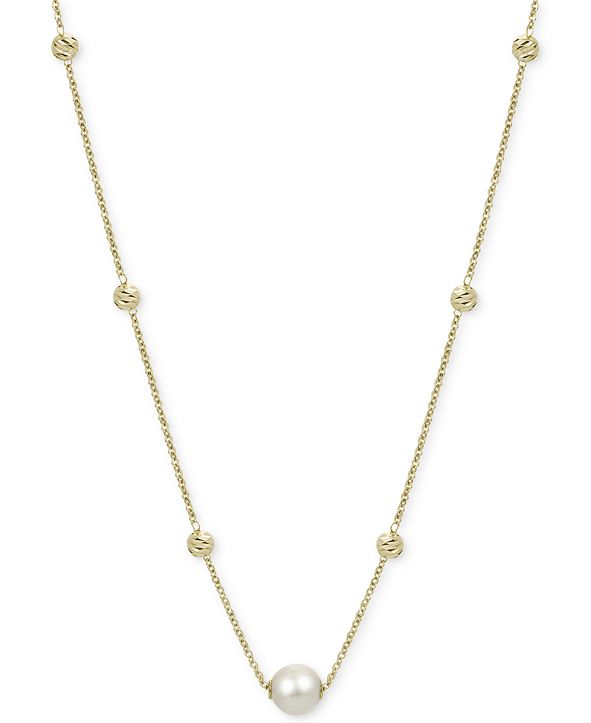 """Macy's Cultured Freshwater Pearl (9mm) & Bead Statement Necklace in 14k Gold-Plated Sterling Silver, 18"""" + 2"""" extender"""