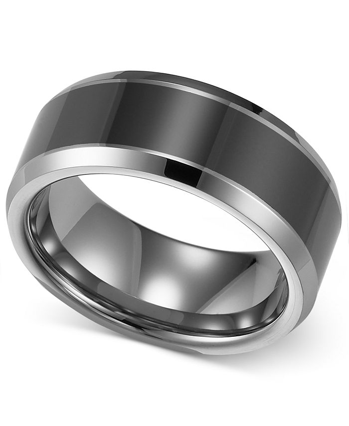 Triton Men S Tungsten Carbide And Ceramic Ring 8mm Wedding Band Reviews Rings Jewelry Watches Macy S