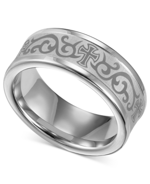 Men's White Tungsten Ring, Laser-Detailed Scroll and Cross Wedding Band