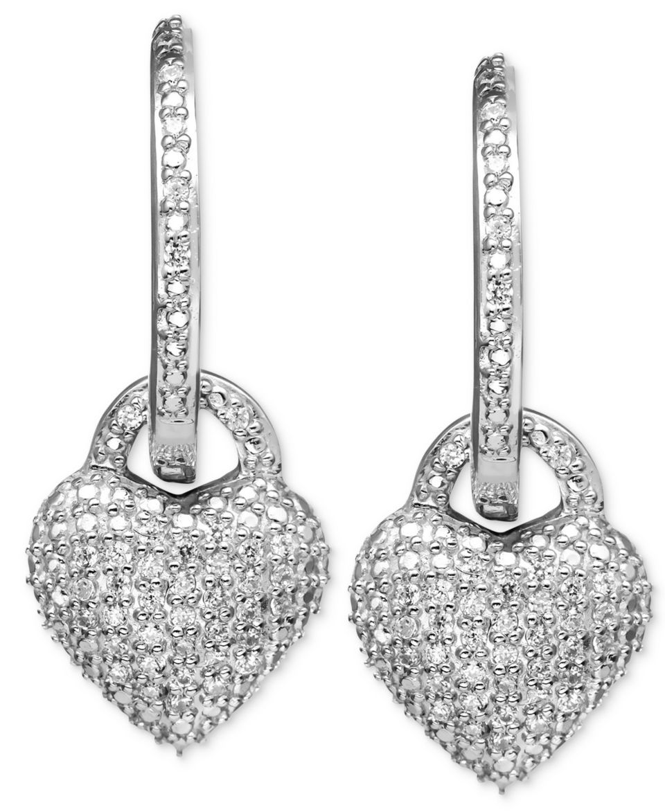 Sterling Silver Earrings, Black and White Diamond Drop Hoop Earrings (1/4 ct. t.w.)   Earrings   Jewelry & Watches