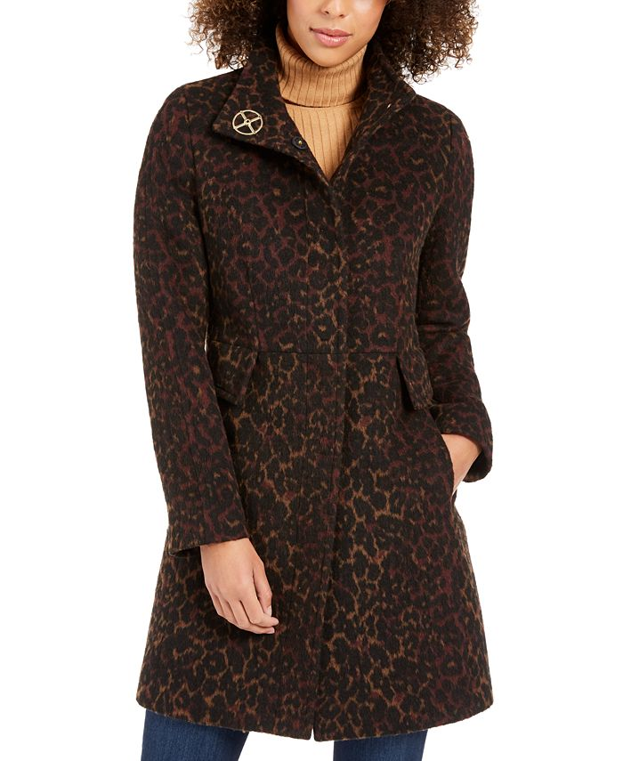 Via Spiga - Plus Size Leopard-Print Coat