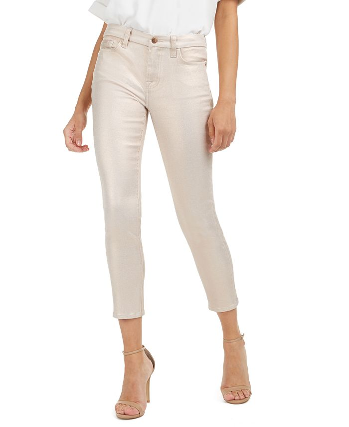 Jen7 by 7 For All Mankind - Metallic Coated Ankle Skinny Jeans