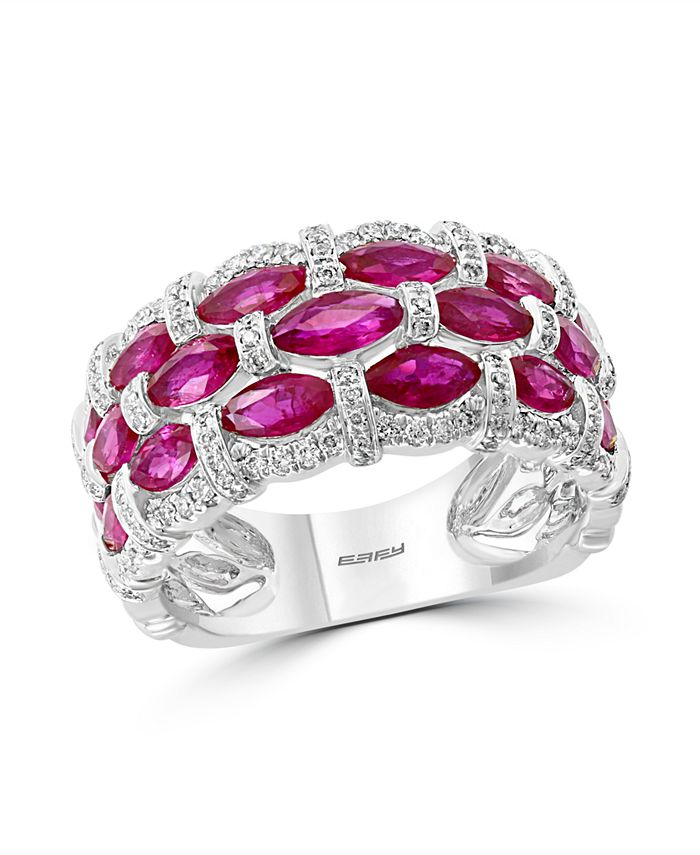 EFFY Collection - Certified Ruby (1-1/3 ct. t.w.) & Diamond (1/3 ct. t.w.) Ring in 14k White Gold