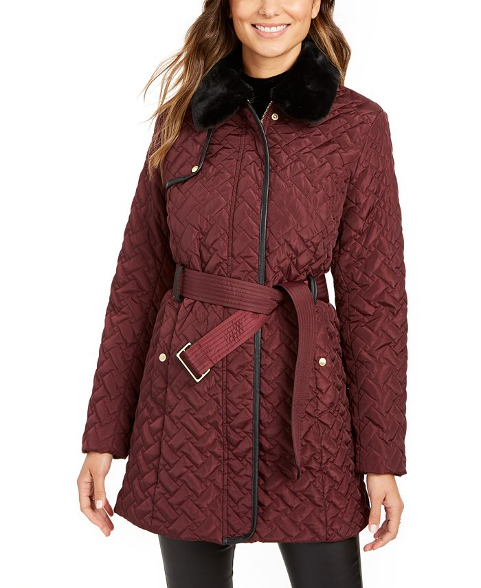 Cole Haan - Faux-Leather Trim Belted Faux-Fur Quilted Coat