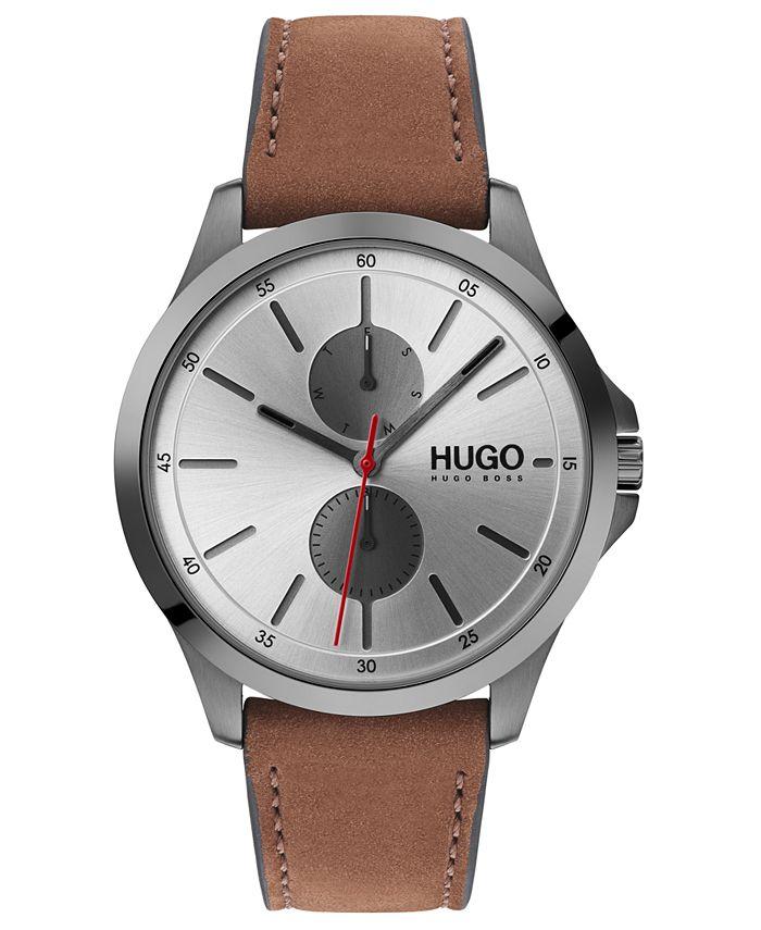 HUGO - Men's #Jump Brown Leather Strap Watch 40mm