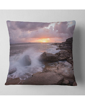 Design Art Designart Stormy Waves In Beautiful Australia Beach Seashore Throw Pillow 18 X 18 Reviews Decorative Throw Pillows Bed Bath Macy S