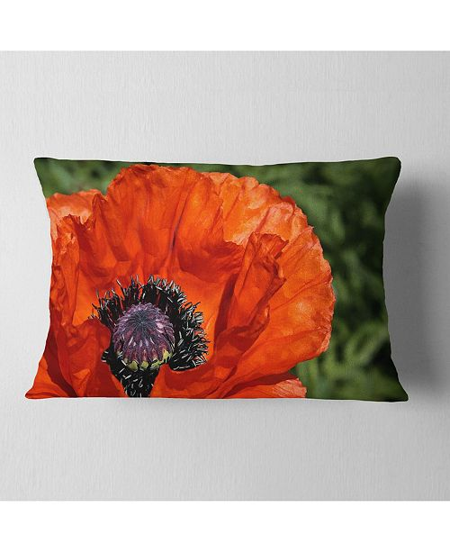 Design Art Designart Close Up View Of Red Poppy Flower Floral Throw Pillow 12 X 20 Reviews Decorative Throw Pillows Bed Bath Macy S