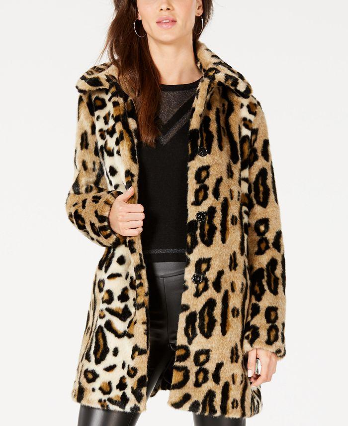 kensie - Faux-Fur Leopard-Print Coat