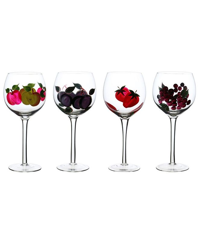 Three Star Wine Glasses with Fruit Stem 4 Piece