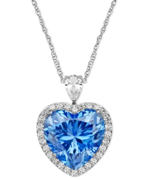 Arabella Sterling Silver Necklace Blue and White Swarovski Zirconia Heart Pendant 19-58 ct. t.w. $212.50 AT vintagedancer.com