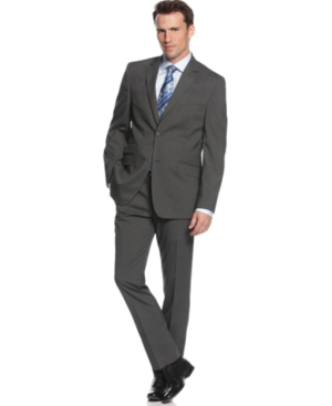 Perry Ellis Portfolio Suit Comfort Stretch Charcoal Stripe Slim Fit