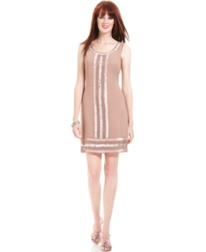 Adrianna Papell Dress, Sleeveless Beaded Sequined Cocktail Dress