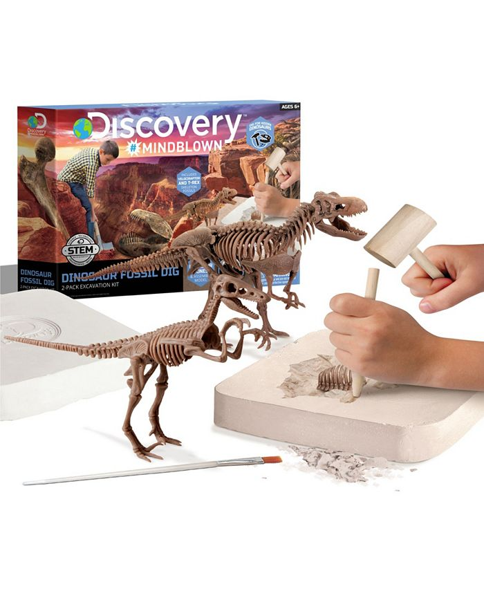 Discovery #MINDBLOWN - Toy Dinosaur Excavation Kit Skeleton 3D Puzzle T-Rex 15pc and Velociraptor 10pc