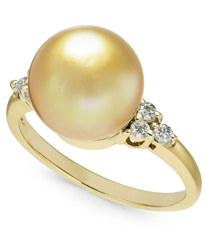 Macy's - Cultured Golden South Sea Pearl (10mm) & Diamond (1/6 ct. t.w.) Ring in 14k Gold