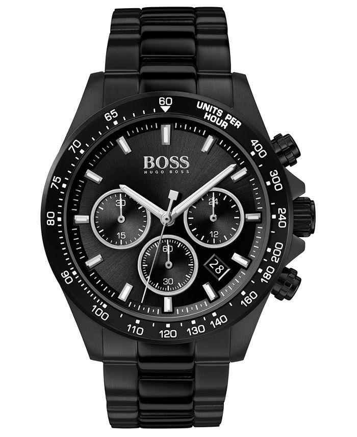 BOSS - Men's Chronograph Hero Black Ion-Plated Stainless Steel Bracelet Watch 43mm