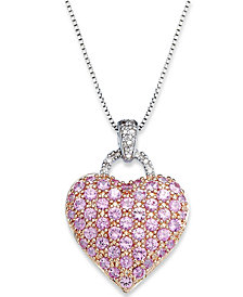 Pink Sapphire (2-1/4 ct. t.w.) and Diamond Accent Heart Pendant Necklace in Sterling Silver (Also Available in Sapphire and Ruby)