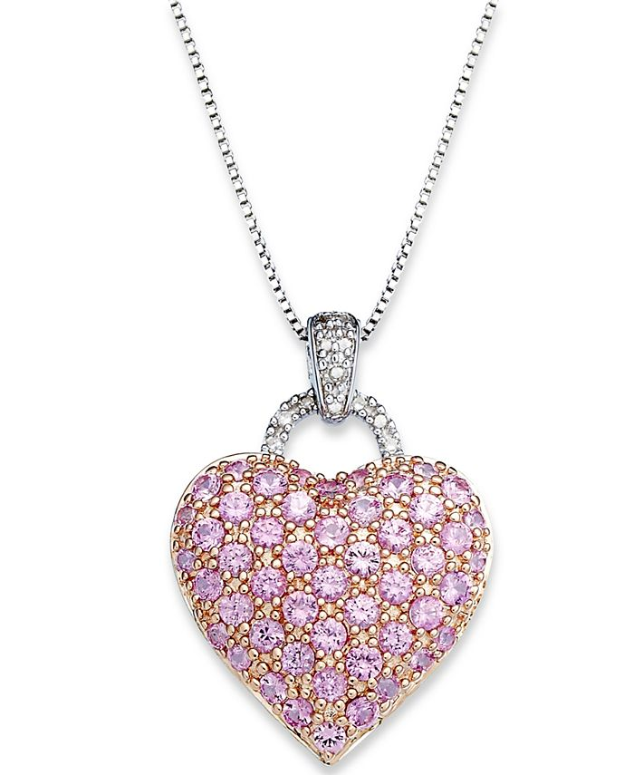 Macy's - Sapphire (1-3/4 ct. t.w.) and  Diamond Accent Heart Pendant Necklace in Sterling Silver