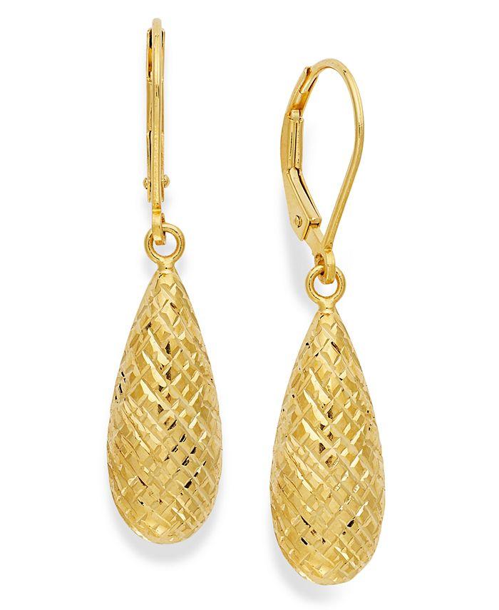 Giani Bernini - 18k Gold over Sterling Silver Earrings, Diamond-Cut Teardrop Leverback Earrings
