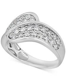 Diamond Overlap Statement Ring (1 ct. t.w.) in 14k White Gold