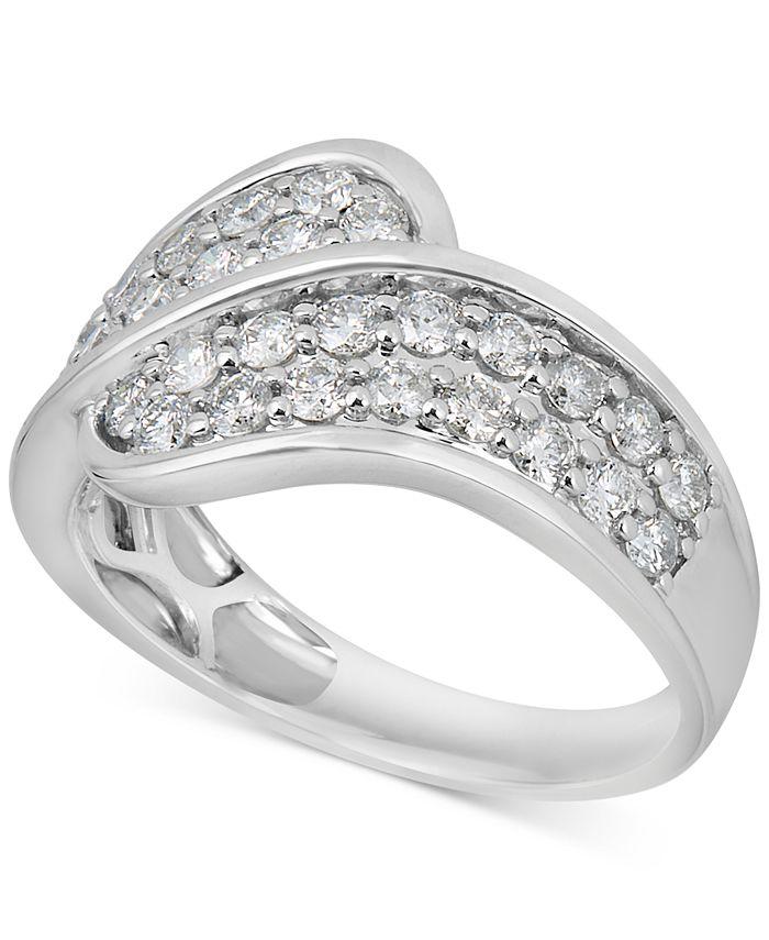 Macy's - Diamond Overlap Statement Ring (1 ct. t.w.) in 14k White Gold