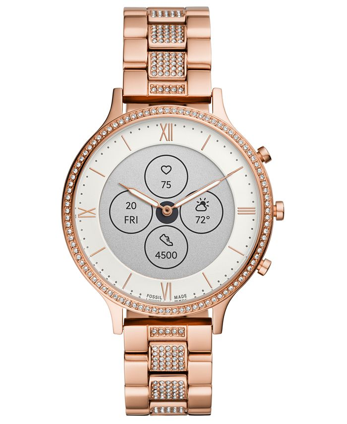 Fossil - Women's Charter Rose Gold-Tone & Crystal Bracelet Hybrid Smart Watch 42mm