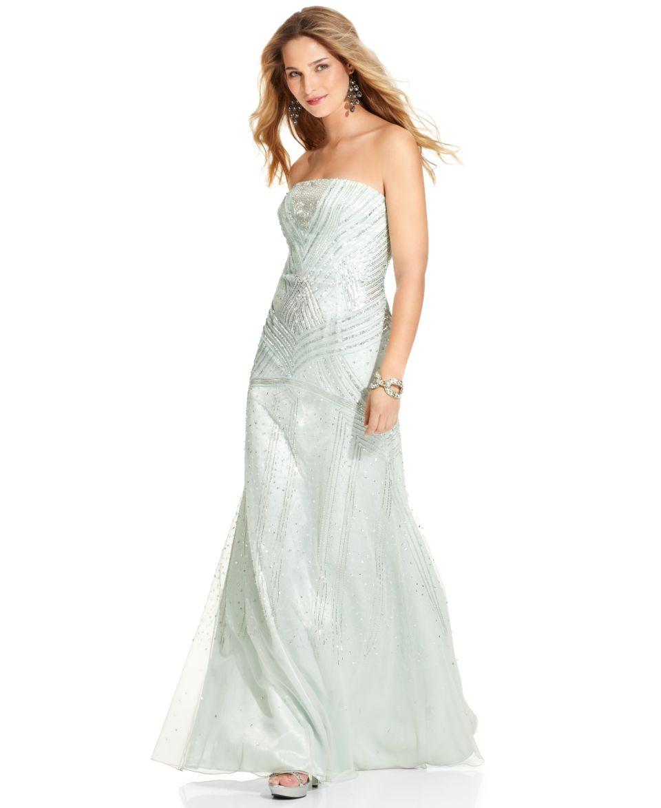 Adrianna Papell Dress, Strapless Beaded Gown   Dresses   Women