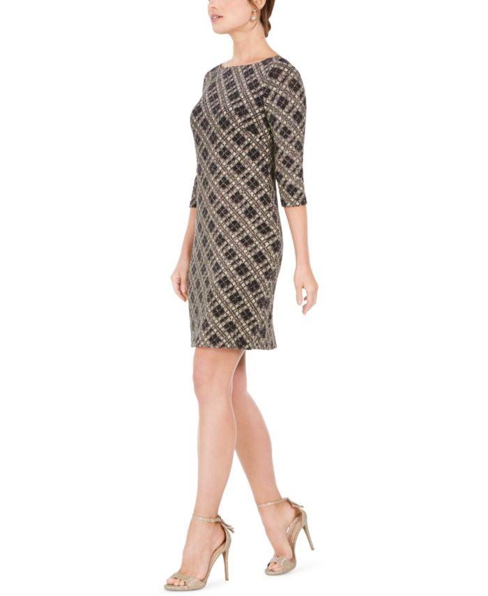 Vince Camuto Plaid Metallic Sheath Dress & Reviews - Dresses - Women - Macy's