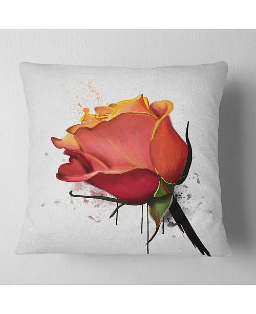 Design Art Designart Isolated Red Rose Watercolor Sketch Floral Throw Pillow 18 X 18 Reviews Decorative Throw Pillows Bed Bath Macy S