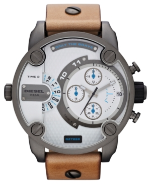 Diesel Watch, Men's Tan Leather Strap 51mm DZ7269 $ 295.00
