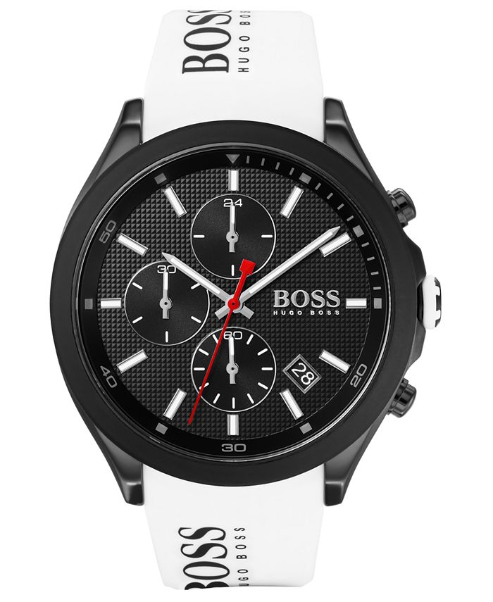 BOSS - Men's Chronograph Velocity White Silicone Strap Watch 45mm