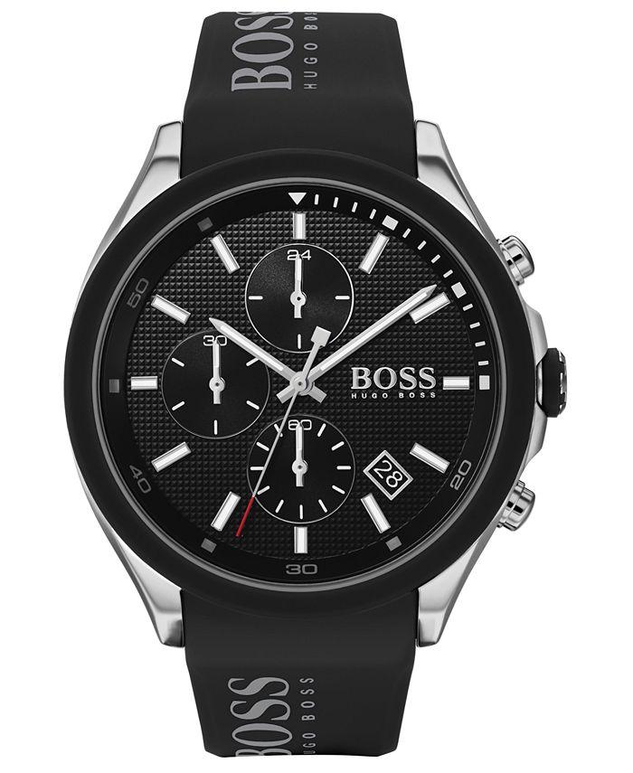 BOSS - Men's Chronograph Velocity Black Silicone Strap Watch 45mm
