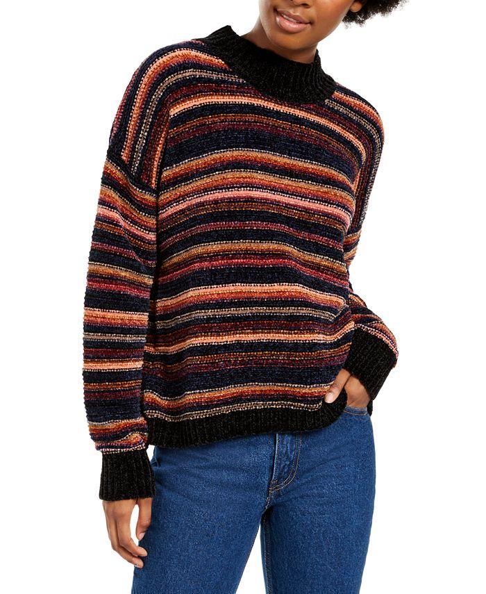 Hippie Rose - Juniors' Striped Mock-Neck Sweater