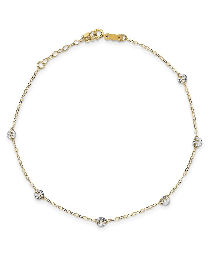 Macy's - Circle Disc Anklet in 14k White and Yellow Gold