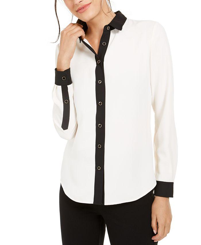 Anne Klein - Contrast-Trim Shirt